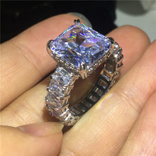 Vecalon 2019 Vintage Princess cut ring 925 sterling silver 6ct AAAAA Cz Engagement wedding Band rings for women Finger Jewelry