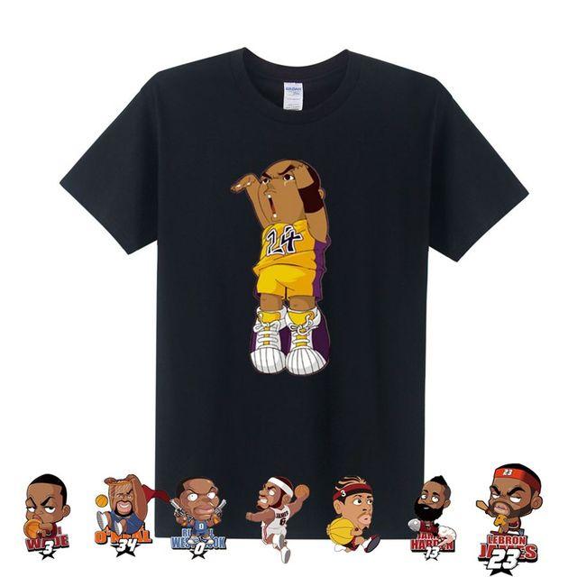 Gratis verzending Man T-shirt Cartoon Tee Shirt KOBE PAUL LeBron James T e55a6059542e