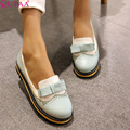 QUTAA 2017 new women shoe fashion sweet style round toe low heel casual women pumps wedding party shoes size 34-43