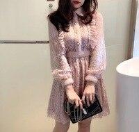 2018 Special Offer Mesh A line Vestido De Festa Dress 2019 Spring New Fashion Mink Stitching Lace Elastic Waist Dress Woman