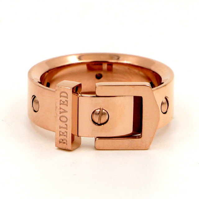 eafe8257d9511 US $3.94 21% OFF|7mm Width Punk Nail Belt Buckle Ring Stainless Steel Rose  Gold Color Luxury Love Screw Rings For Women Men Jewelry R009-in Rings from  ...