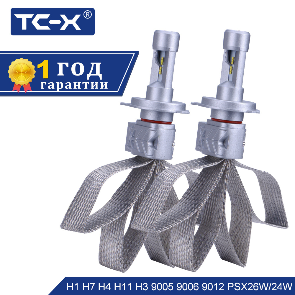TC-X Lumileds ZES LED פנס רכב H4 9003 H16 H11 H8 9005 HB3 9006 HB4 H7 LED נורות פנס סופר מוארות LED לבן טהור 12 v