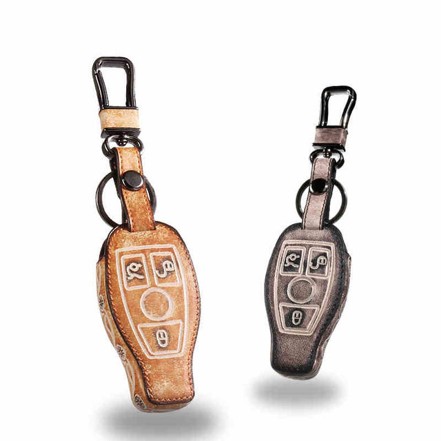 Leather Car Keychain Key Fob Case Cover For Benz W203 W210 W211 W204 C E S CLS CLK CLA SLK Key Rings Holder bag Auto Accessories