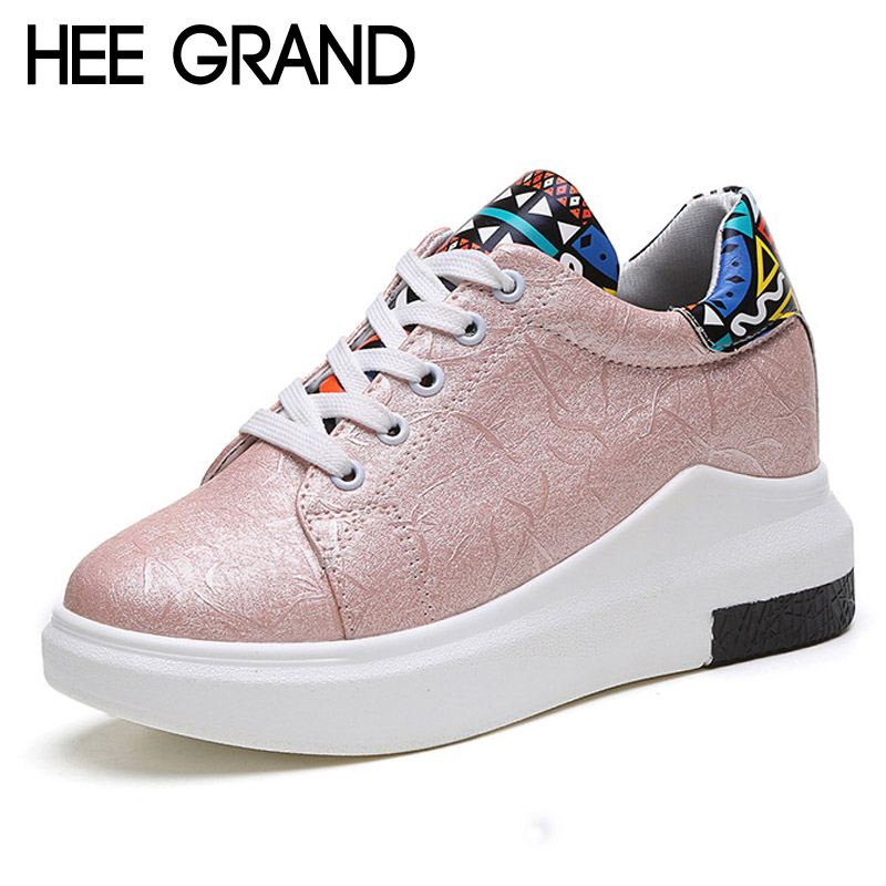 HEE GRAND 2017 Spring Wedges Printing Platform Shoes Woman Fashion High Heels Casual Women Shoes Size 35-40 XWZ3535 hee grand casual wedges sandals 2017 summer beach women shoes platform buckle comfort creepers fashion shoes woman xwz3812
