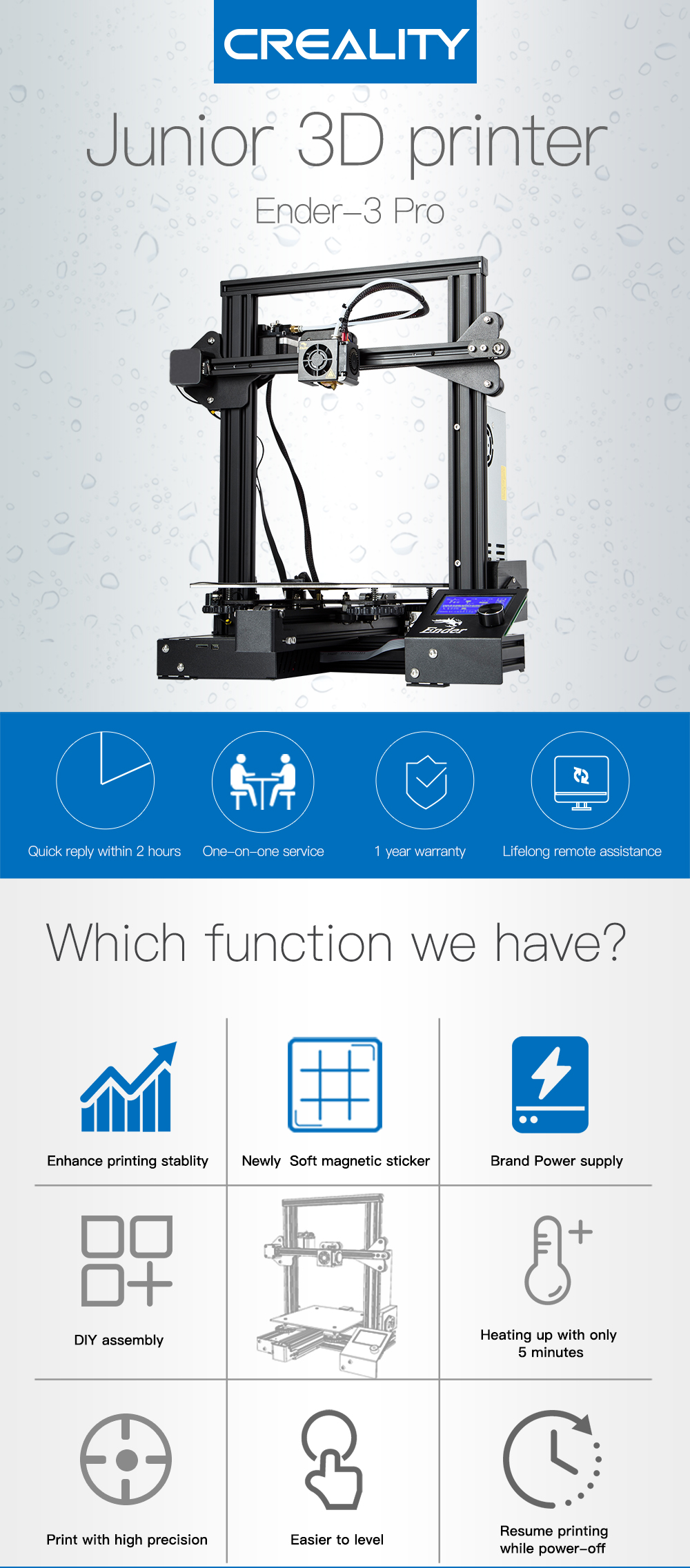 CREALITY Ender-3 Pro 3D Printer Kit With Full Metal Frame and Brand Power Supply 5