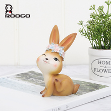 Roogo Resin Baby Rabbits Miniature Figurines Animal Home Decor Accessory Creative Toy Gift for Kids Cute Ornaments