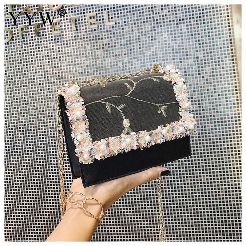 Lace Flowers Women'S Clutch Bag 2019 New Handbag High Quality Sweet Girl Square Bag Flower Pearl Chain Shoulder Messenger Bag