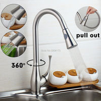 Wholesale And Promotions Retail Single Handle Brushed Nickel Finish Pull Out Swivel Kitchen Sink Faucet Taps