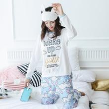 Купить с кэшбэком Unicorn Pajamas Autumn Winter Women Cotton Pajama Sets Cartoon ELMO Home Wear Suits Long Sleeves Pajamas for Women Sleepwear