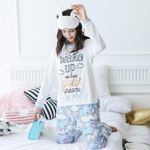 Unicorn Pajamas Autumn Winter Women Cotton Pajama Sets Cartoon ELMO Home  Wear Suits Long Sleeves Pajamas 198738cc0