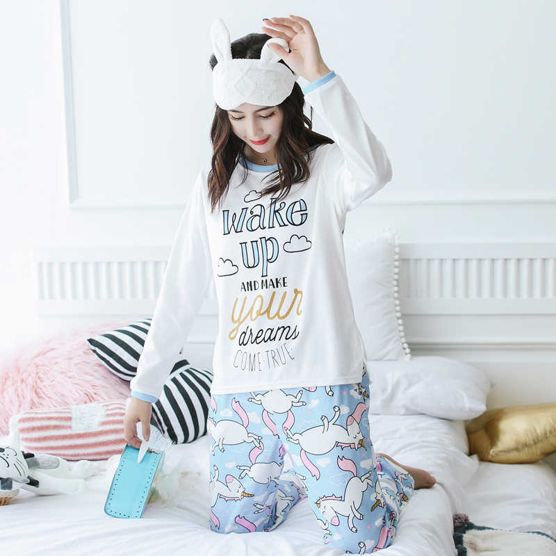 Unicorn Pajamas Autumn Winter Women Cotton Pajama Sets Cartoon ELMO Home  Wear Suits Long Sleeves Pajamas 9fff5aee9