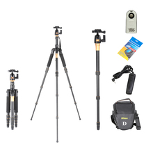 Tripod Kit Portable Aluminum Professional Camera Digital Tripod Q-666 Tripod Monopod+ QZSD-02 Ball Head Camera Stand Monopod