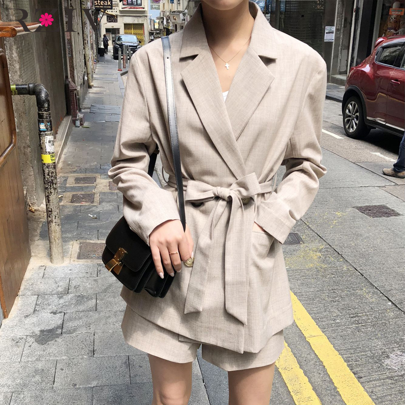 RZIV Spring Summer 2 Piece Set Blazer Set Women s Set Solid Color Suit Shorts Casual
