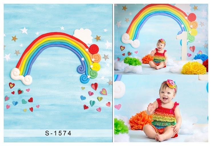 Aangepaste vinyl doek cartoon regenboog fotografie achtergronden voor - Camera en foto - Foto 1