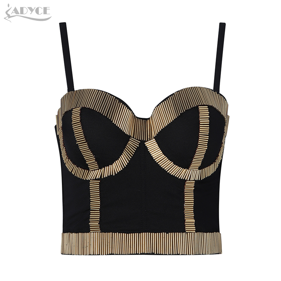 ADYCE New Summer Women Celebrity Runway Evening Party Blouse Sexy Sleeveless Spaghetti Strap Fashion Club Bodycon Camis Tops