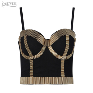 Image 1 - ADYCE Nieuwe Zomer Vrouwen Celebrity Runway Avond Party Blouse Sexy Luxe Bead Mouwloze Zilveren Fashion Club Bodycon Camis Tops
