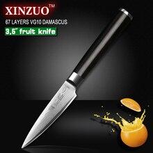 """XINZUO 67 schichten 3,5 """"schälmesser Japanischen VG10 Damaskus küchenmesser peeling universalmesser ebenholz griff kostenloser versand"""