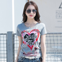 New Women T shirts Handwork Cotton Women Shirts Female Tops Tees Fashion Slim Hearts And Letter Pattern 4 Colors #KQ1906