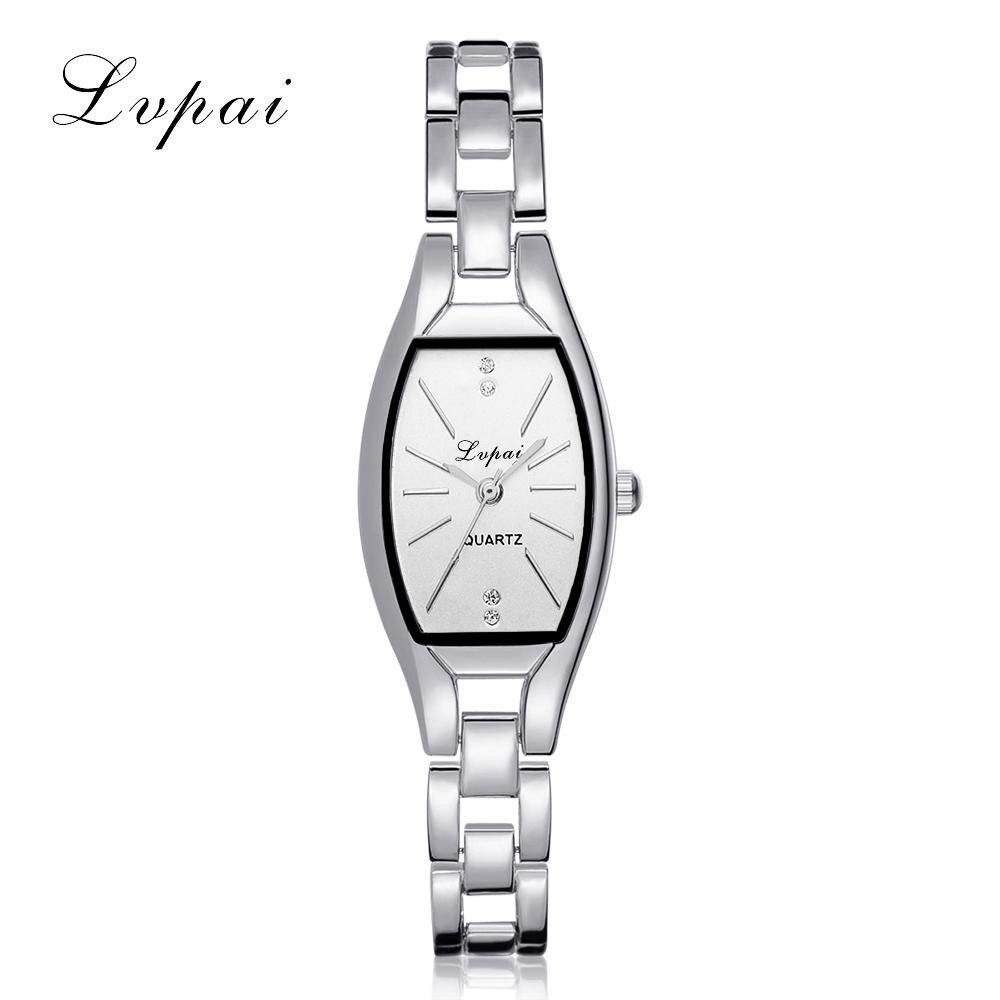 LVPAI Fashion Ladies Women Unisex Stainless Steel Rhinestone Quartz Wrist Watch 40p women Simple watches men 2