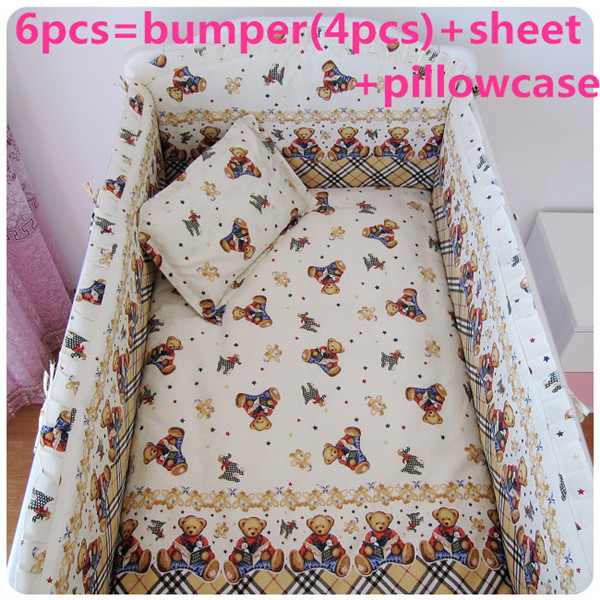 2016 6PCS Bear Baby cot bedding sets baby boy baby bed cot sheet (bumpers+sheet+pillow cover)