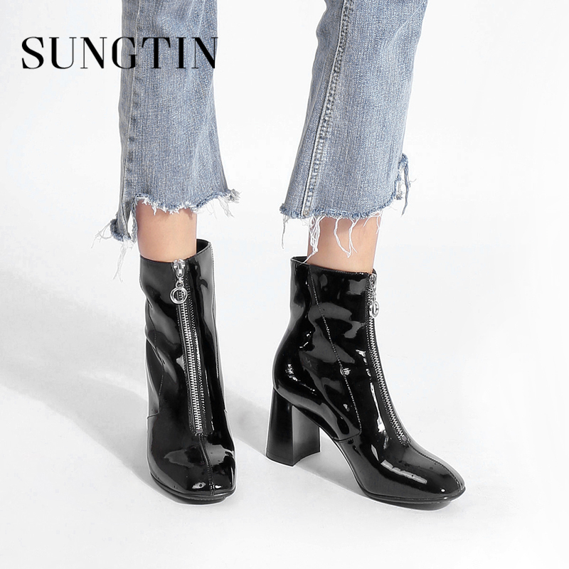 Sungtin Genuine Leather Autumn Women Ankle Boots Fashion Patent Leather High Heel Dress Shoes Ladies Black Short Riding Boots цена 2017