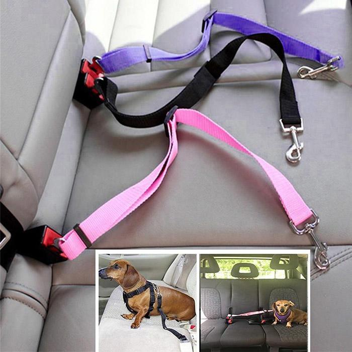 6 Colors Adjustable Vehicle Car Pet Dog Safety Seat Belt Pet Harness Restraint Lead Leash Clip Safety Supplies Puppy Accessories