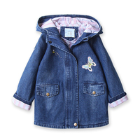 Fashion Girl Jeans Jacket Kids Butterflies Hooded Jacket Outerwear Spring Autumn Child Coat Long Denim Jackets