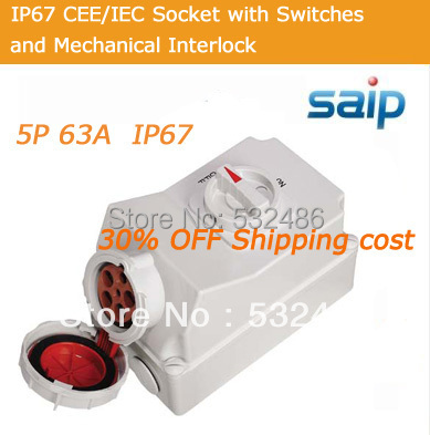 30% SHIPPING COST!! 2013 ELECTRIC INDUSTRIAL SOCKET WATERPROOF SOCKET 5P 63A with CE/CCC/CB fast shipping ats kpats 50 3 socket