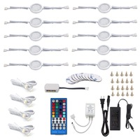 AIBOO Under Counter LED Light Kit, RGBW/RGBWW Under Cabinet Lighting, 10 Packs Colored Cabinet Lights with Wireless 40 Key IR Di
