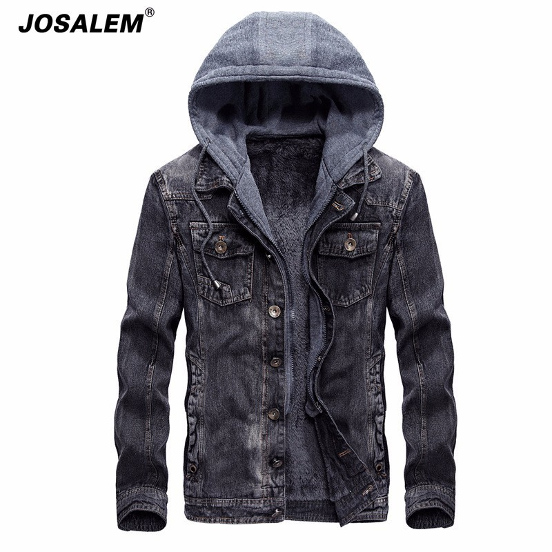 JOSALEM 2018 Men Hooded Fleece Denim Jacket Winter Thick Warm Collar Hoodies Denim Jacket Casual Retro Jean Jacket Outwear Coat