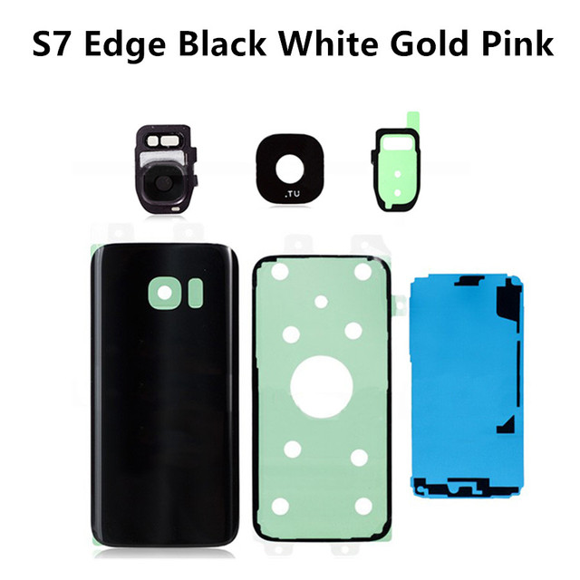 Battery Door and Back Glass Cover with with Adhesive Sticker Assembly for Samsung Galaxy S7 Edge,Black White Gold Pink