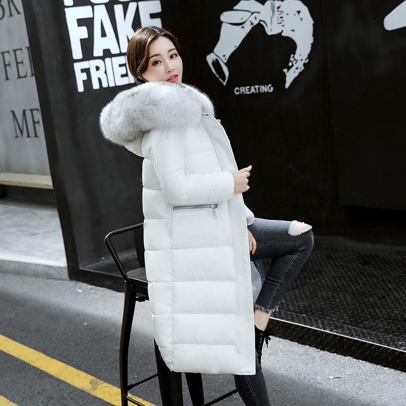 Fashion Big Fur Thick Winter Jacket Women Long Down   Parkas   Female 2018 New Slim Warm Winter Hooded Coat Ladies Jacket Outwear