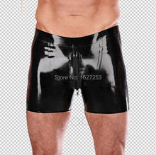Latex Boxer Men's Sexy Rubber Underwear Crotch Zip Two-way Zip