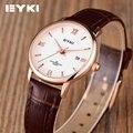 Calendário EYKI Genuína Pulseira de Couro Mulheres Relógios De Quartzo Fino Simples Estudante de Moda Coreano Senhoras Relógios