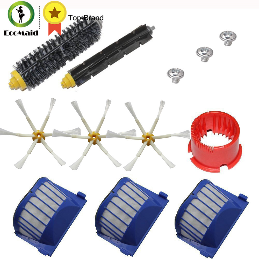 Aero Vac Filter & Bristle Brush Flexible Beater Brush 6-Armed Side Brush Kit for iRobot Roomba 600 Series Vacuum Cleaning Robot aero vac filter bristle brush flexible beater brush 3 armed side brush tool for irobot roomba 600 series 620 630 650 660