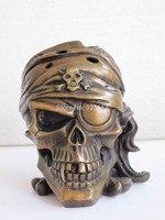 Китайская Бронзовая художественная статуя, одноглазый человек, голова черепа, статуя ладана, горелка