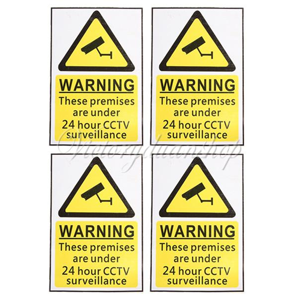 NEW 4Pcs Warning Sign Decal Sticker for 24 Hour CCTV Security Camera Surveillance Free Shipping