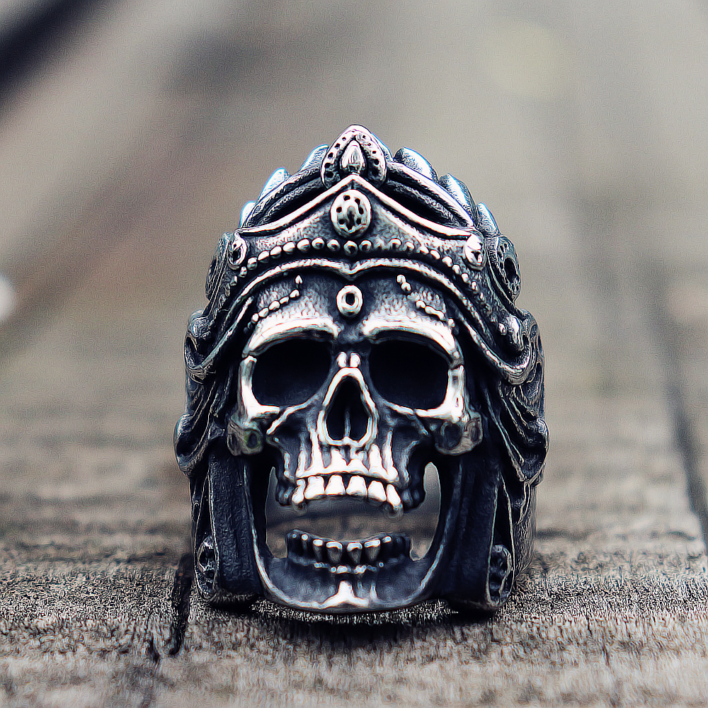 Ringe Herren Jungen Mahakali Helm Schädel Biker Ringe Vintage 316l Edelstahl Ring Punk Rock Schmuck Geschenk Für Ihn Weich Und Rutschhemmend