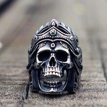 Mens Boys Mahakali Helmet Skull Biker Rings Vintage 316L Stainless Steel Ring Punk Rock Jewelry Gift for Him