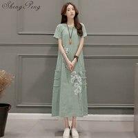 2018 new linen dress ao dai vintage ethnic aodai full sleeve qipao women long cheongsams dress for party 2128 dress V005