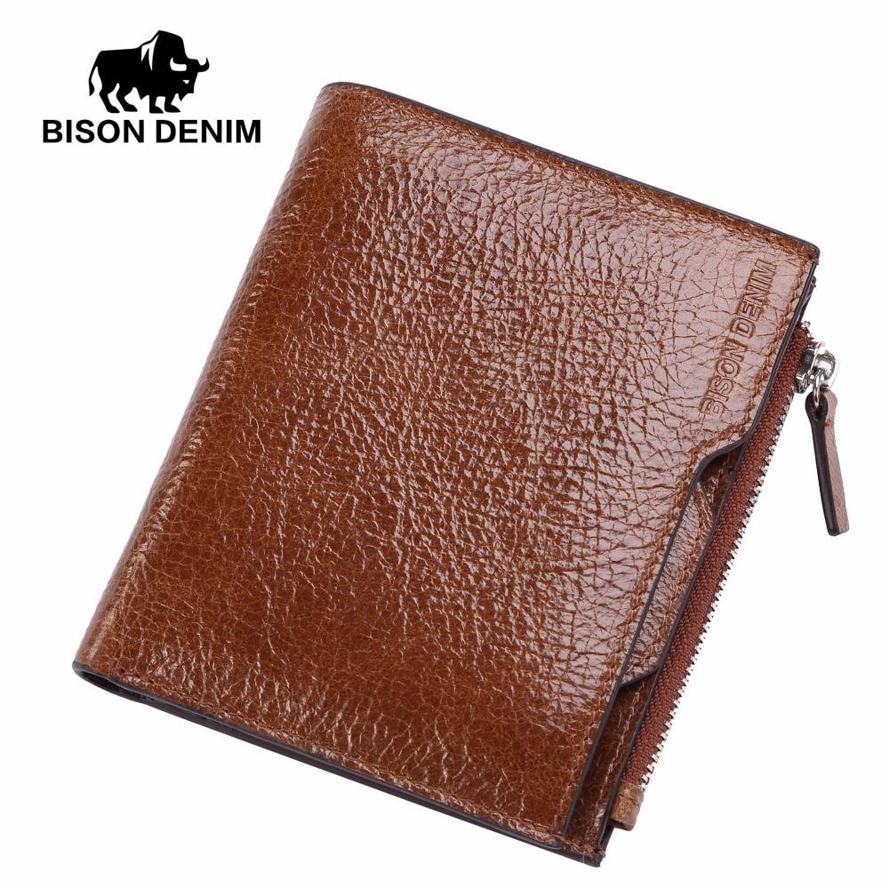 BISON DENIM Men Wallets Cowhide Leather Male Wallet Short Coin Purse Vintage Zipper Wallet Brand Designer Wallet Slim Thin W4454