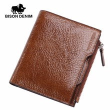 BISON DENIM Men Wallets Cowhide Leather Male Wallet Short Coin Purse Vintage Zipper Wallet Brand Designer Wallet Slim Thin W4454