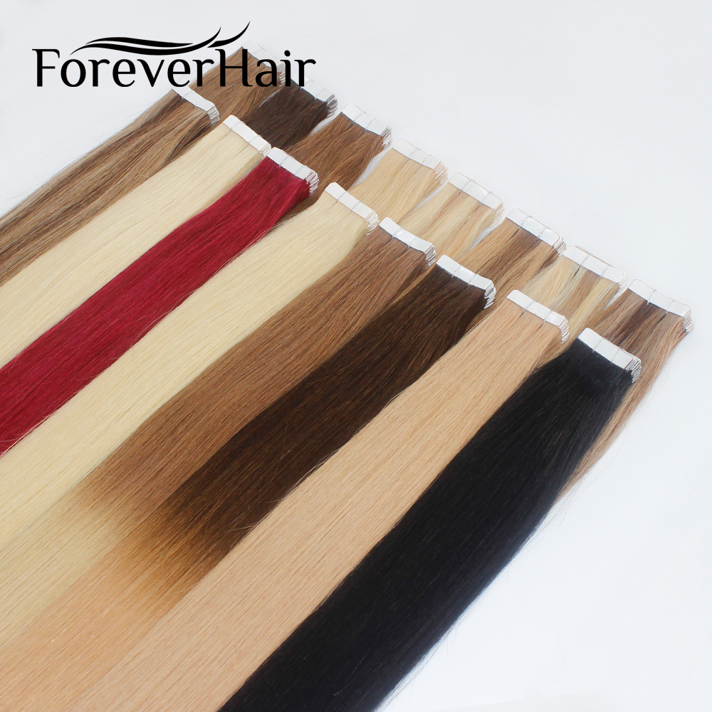 FOREVER HAIR Tape In Human Hair Extensions 14 16 18 20 Machine Made Remy Hair On Adhesives Tape PU Skin Weft Invisible 20pcs