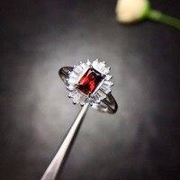 Uloveido Natural Garnet Ring, 925 Sterling Silver, 4*6mm Certified Oval Shape Red Gemstone Wedding Jewelry for Women FJ212