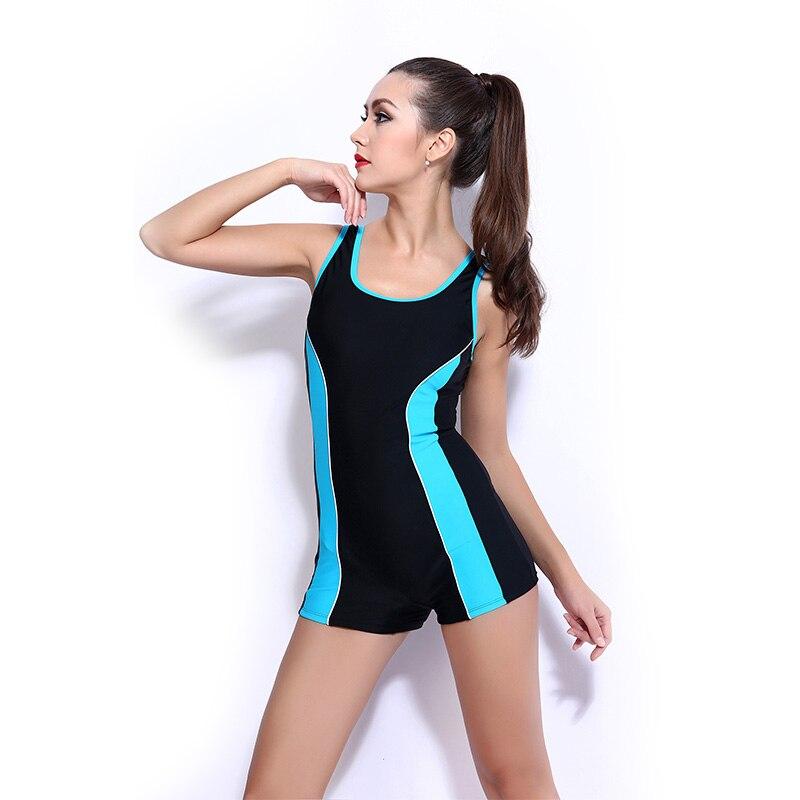 цена на Professional Sports One Piece Swimsuit Quick Dry Patchwork Swimwear Women Elastic Female Bodysuit one-piece swimsuit short