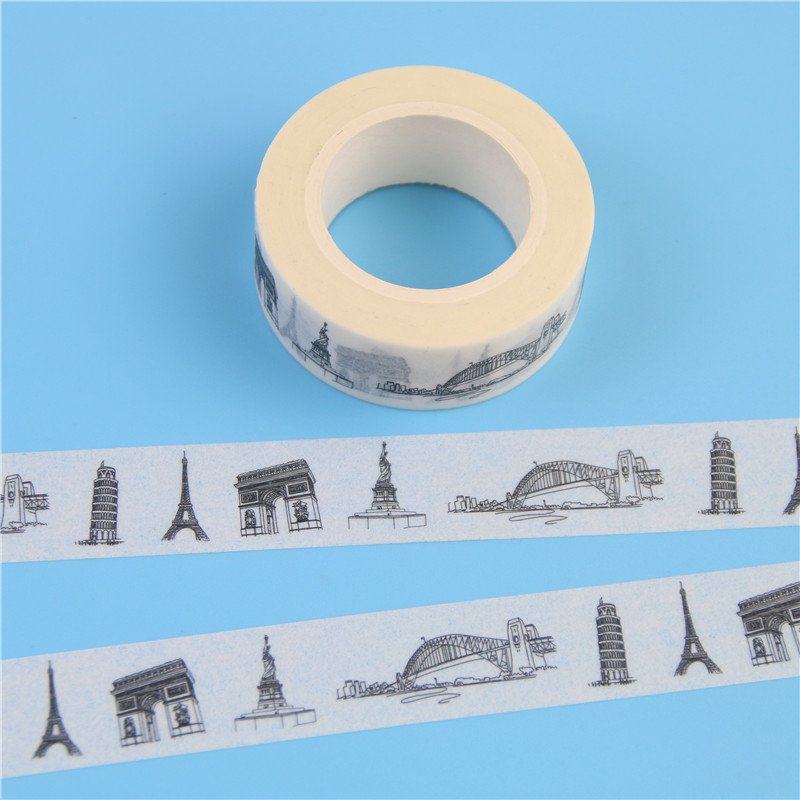 1 Pcs New Sketched Paris Eiffel Tower Japanese Washi Tape Office Adhesive Tape Adesivo 15mm*10m Masking Tape Material Escolar