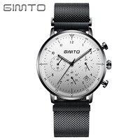 GIMTO Fashion Chronograph Quartz Watch Men Ultra Thin Waterproof Mens Watches Top Brand Luxury Waterproof Clock