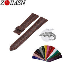 лучшая цена ZLIMSN Crocodile leather watch band 18mm 20mm 22mm men women luxury crocodile leather strap 15 colors optional Customizable size