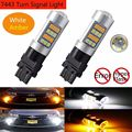 2 X 7443 T20 42SMD 2835 LED Lights Car Dual Color White/Amber Brake Back Up Switchback Reverse Turn Signal LED Light