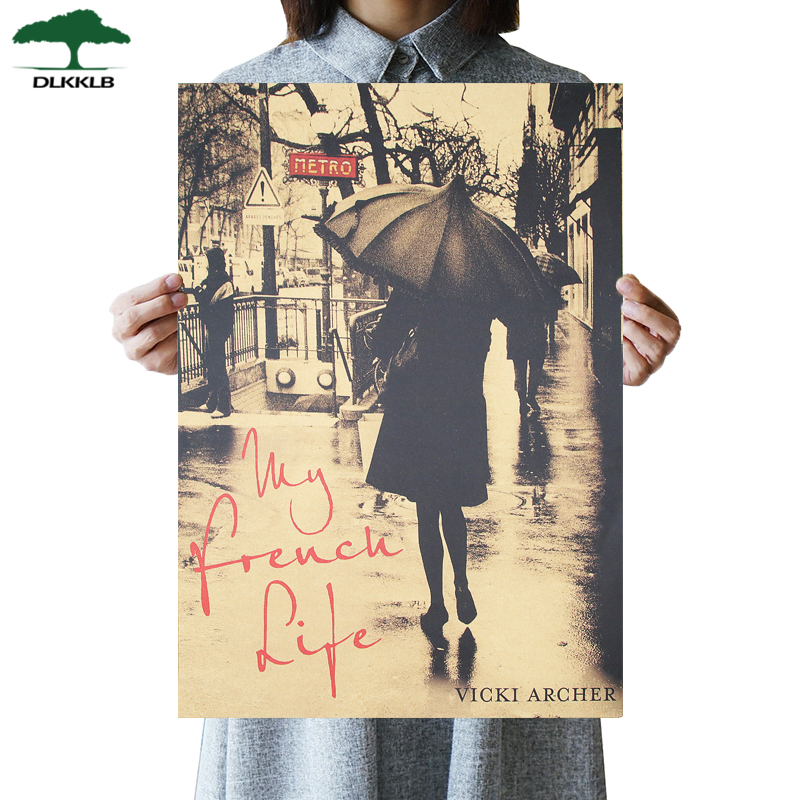 DLKKLB Retro Poster My French Life Movie Anime Poster Bar Cafe Decor Kraft Paper 51.5X36cm Wall Stickers Decorative Painting